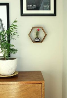 DIY Wall Art--Popsicle Stick Hexagon Shelf