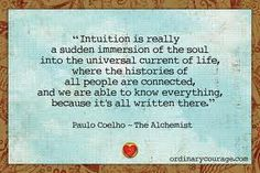 Intuition is really the sudden immersion of the soul into the universal current of life, where the histories of all people are connected, and we are able to know everything, because its all written there.
