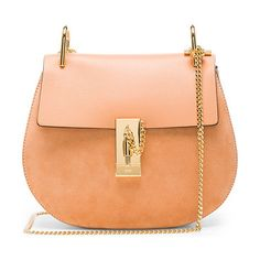 """Small Suede & Calfskin Drew Shoulder Bag by Chloe. Calfskin suede with raw lining and gold-tone hardware.  Made in Italy.  Measures approx 9""""""""W x 8""""""""H x 3""""""""D.  Chain li..."""
