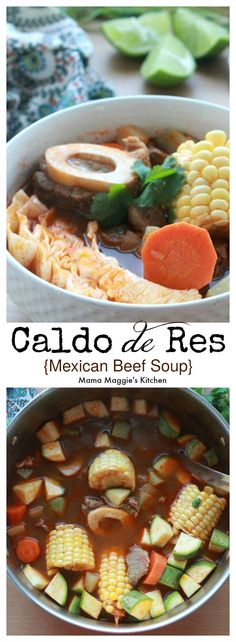 Caldo de Res, or Mexican Beef Soup, is a traditional Mexican dish made with beef shanks and loaded with vegetables. Hearty and extremely satisfying, this recipe is a well-loved classic in Mexico. By Mama Maggie's Kitchen Mexican Beef Soup, Mexican Soup Recipes, Best Soup Recipes, Beef Recipes, Cooking Recipes, Vegan Recipes, Enchilada Sauce, Beef Shank Recipe, Beef Shank Soup