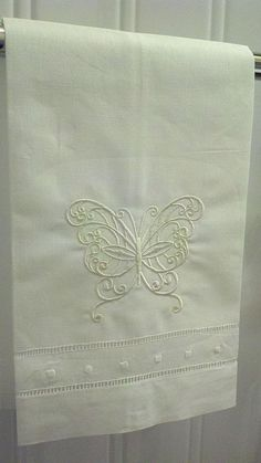 Embroidered Linen Guest Towel with Butterfly  by YourWayEmbroidery, $8.00