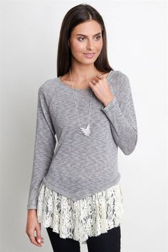Lace Trim Long Sleeve Tunic Top - Light Grey