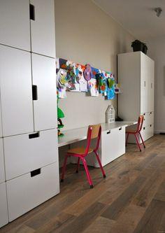 Desk between storagw Boy And Girl Shared Bedroom, Girl Room, Kids Bedroom, Ikea Stuva, Ideas Habitaciones, Home Daycare, Ikea Storage, Kids Room Design, Kids Corner