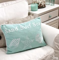 """A little cottage in sunny California, decorated by a beach lover with a passion for aqua. """"I absolutely love the beach! It's so relaxing and peaceful,"""" designer Breezy . Read moreEasy Breezy Living in an Aqua Blue Cottage Beach Cottage Style, Beach Cottage Decor, Cottage Style Homes, Coastal Cottage, Coastal Homes, Coastal Style, Coastal Decor, Coastal Living, Coastal Fabric"""