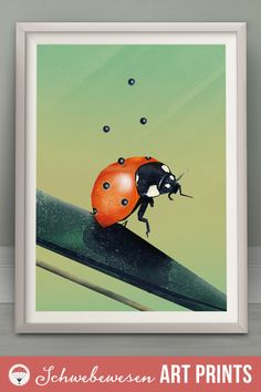 Ladybird Art Print Boho Decor Botanical Illustration Ladybug Poster Insect Wall Art Nursery Print Pastel Colors Cute Animal Print Polka Dot