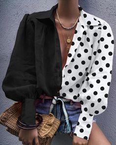 Colorblock Dot Print Lantern Sleeve Shirt, Source by Blouses 80s Fashion, Fashion Outfits, Womens Fashion, Fashion Trends, Fashion Online, Fall Fashion, Style Feminin, Mode Shoes, Mode Costume