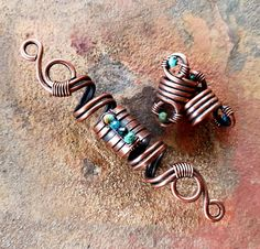 Turquoise Dread Beads Copper Dread Beads Set of 3 Dread
