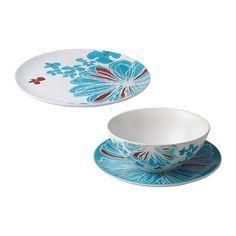 BULLRA 18-piece dinnerware set, blue, flower