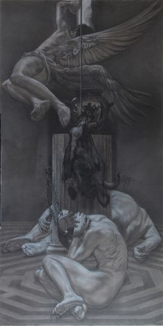 """Sons of Daedalus"" pencil and white conté on grey paper on panel cm 100x200"