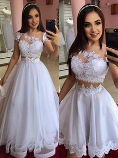 White Cap Sleeve Tulle Appliques Prom Dress, Two Piece Prom Dresses Cheap Bridal Dresses, A Line Prom Dresses, Tulle Prom Dress, White Wedding Dresses, Quinceanera Dresses, Cute Dresses, Lace Dress, Evening Dresses, Diana