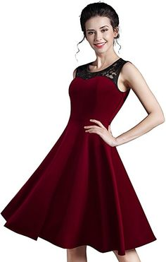 Amazon.com: HOMEYEE Women's Vintage Chic Sleeveless Cocktail Party Dress A008 (S, Dark Red): Clothing