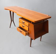 Louis van Teeffelen; Teak Desk for Webe, 1955.