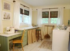Laundry Room  - *Shopping Candy* : My House - Love a laundry room w/ a lot of windows & space for projects!