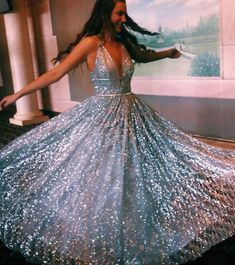 charming light blue sleeveless v-neck tulle floro length evening dresses sequins prom dresses by olesaweddingdresses, $167.78 USD Sparkly Prom Dresses, Classy Prom Dresses, Plus Size Prom Dresses, A Line Prom Dresses, Tulle Prom Dress, Prom Party Dresses, Sequin Dress, Homecoming Dresses, Sexy Dresses