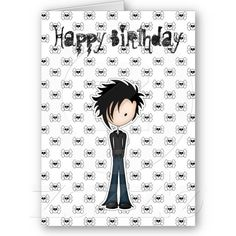 Asian cherry blossoms birthday card cherries country and birthday cute cartoon emo boy with black spikey hair card bookmarktalkfo Images
