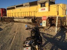 SC3 Adventure at railroad crossing near the Trona Pinnacles
