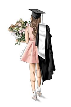 Graduation Picture Poses, Graduation Photoshoot, Graduation Pictures, Graduation Ideas, Graduation Gifts, Beautiful Girl Drawing, Cute Girl Drawing, Hair Illustration, Fashion Illustration Chanel