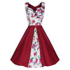 'Avis' Red Floral Swing Dress