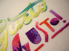 Hand Embroidered Typography by MaricorMaricar