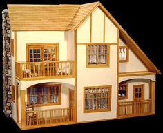 """2-Story Craftsman Built from scratch using a 1/4"""" foamcore sctructure.  Based upon an exterior drawing of a 1906 plaster-finished bungalow in a book."""
