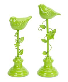 Look at this Green Bird Finial Set on #zulily today!