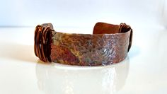 Copper Cuff Bracelet Hammered Copper Cuff Bracelet Patina Copper Cuff Solid Copper Thin Cuff Red Orange Purple Patina Fall Jewelry Boho Chic