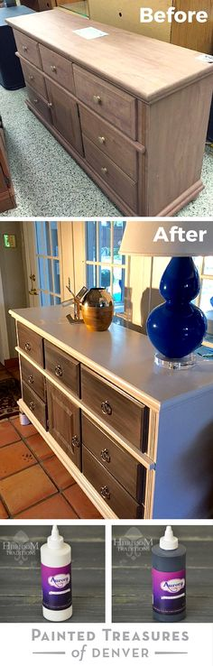 "I gave this dresser a fabulous makeover using Heirloom Tradition's Snow White and Black Auorora Gel Stains. Get these gel stains and other paint products from http://heirloomtraditionspaint.mybigcommerce.com/ with coupon code ""PAINTEDTREASURES"""