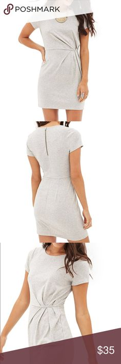 """Drapey Heathered Sheath Dress  Size M Love 21 - This dress's sleek sheath silhouette pairs unexpectedly well with its heathered knit construction. Accented by short sleeves and a gathered waist for a flattering drape, this dress is a wardrobe staple we ♥️ worn casually for day with crisp sneakers and a denim jacket.    Lightweight, unlined   85% polyester, 10% rayon, 5% spandex   34"""" full length, 32"""" chest, 25"""" waist, 6"""" sleeve length    Model Info: Height: 5'10""""   Bust: 34B   Waist: 25…"""