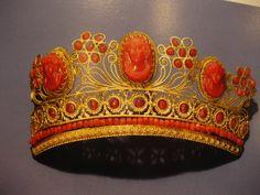 Coral and metal tiara, circa 1810.