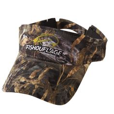 Walleye Pattern Full Camo Visor. Constructed from rugged poly twill fabric with anti-microbial treatment for freshness and wicking moisture management keeps the cap cool. Fishouflage logo on the front of the cap with velcro closure on the back.