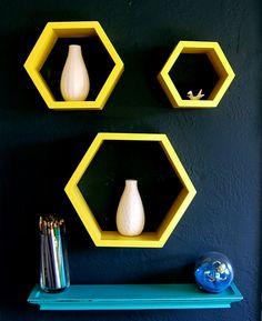 Sunshine Yellow Wall Hexagon Shelves Set of 3 by NineRed on Etsy