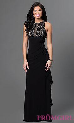 Blondie Nites Long Ruched Sheer Back Dress at PromGirl.com