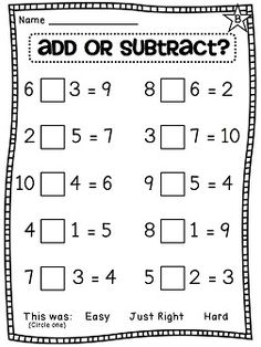 Teaching math · choose an operation - add or subtract - differentiated worksheets first grade worksheets, grade Math Classroom, Kindergarten Math, Teaching Math, Preschool, Classroom Decor, Math For Kids, Fun Math, Math 2, Math Resources