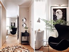 Two round mirrors on the wall in corridor or entry way.