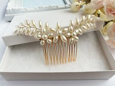 Hair Comb Wedding, Hair Combs, Wedding Hairstyles, Pearls, Trending Outfits, Unique Jewelry, Handmade Gifts, Gold, Etsy