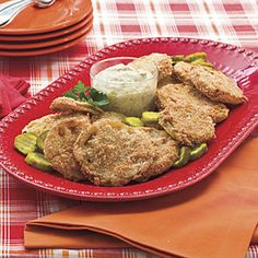 Fried Green Tomatoes With Bread-and-Butter Pickle Rémoulade:  Prep: 15 min., Fry: 6 min. per batch. Linton prefers to fry in peanut oil because of its higher smoke point.