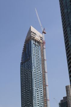 The L Tower, a 58-story condominium project under construction in Toronto, Ontario, Canada.  Designed by Daniel Libeskind.