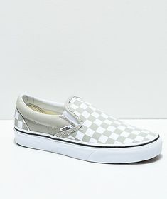 Vans Slip-On Desert Sage   True White Checkerboard Skate Shoes 3e6af1bee