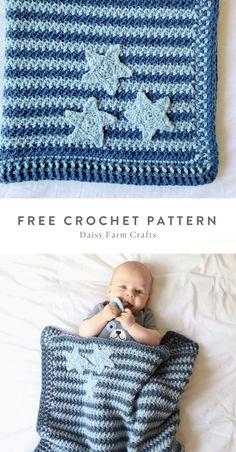 Free Pattern - Crochet Star Baby Blanket by Daisy Farm Crafts. Star Baby Blanket, Baby Clothes Blanket, Baby Boy Crochet Blanket, Baby Afghans, Crochet Baby, Free Crochet, Knit Or Crochet, Baby Blankets, Crochet Blanket Patterns