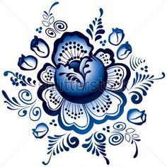 Гжель Традиционный Русский Орнамент Из Керамики В Векторе стоковый вектор - Clipart.me