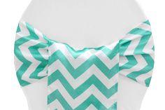 Chevron Satin Chair Sash - Turquoise ● As Low as $1.55