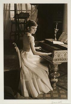 audrey, audrey hepburn, classic, classy, piano, vintage