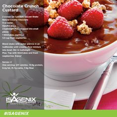 Sweeten up your day with this Isagenix Chocolate Crunch Custard! Get 13.9g of undenatured protein for only 231 calories per serving!