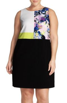 Ellen Tracy Colorblock Sleeveless Shift Dress (Plus Size) available at #Nordstrom