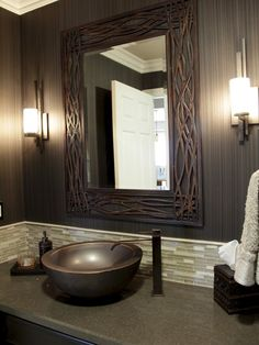 Contemporary Powder Room Design Ideas, Pictures, Remodel and Decor Dark Brown Bathroom, Dark Brown Walls, Brown Wall Mirrors, Wall Sconces, Rustic Powder Room, Powder Room Design, Basement Makeover, Funky Home Decor, Modern Bathrooms