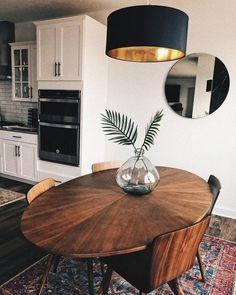 Extendable mid-century dining table - walnut Mid Century Modern Acorn Wood dining table Conan oval dining table in 2020 White Kitchen Decor, Kitchen Decor Themes, Gold Kitchen, Kitchen Ideas, Warm Kitchen, Country Kitchen, Dining Room Table Decor, Dining Room Design, Dinning Room Ideas