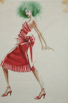#fashionsketches #fashionillustration #watercolors #red #dress #drawing #artwork