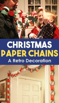 Make paper chains with your family for the Christmas holidays this year! It's a great retro decoration for a garland or tree. A fun activity and craft idea for kids and adults of all ages and a wonderful Christmas tradition! #Christmas #EasyCrafts #ForKids #ActivitiesForKids #FunForKids