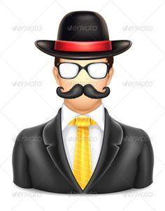 User Man in Hat Icon ...  account, avatar, business, businessman, character, corporate, english, face, forum, front, glasses, guy, hat, hipster, human, icon, man, moustache, mustache, network, office, people, person, profile, service, social, user, web