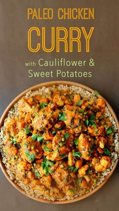 This delicious paleo chicken curry with cauliflower and sweet potatoes is one of my favourite gluten free one pot meals. This delicious paleo chicken curry with cauliflower and sweet potatoes is one of my favourite gluten free one pot meals. Indian Food Recipes, Diet Recipes, Chicken Recipes, Healthy Recipes, Lunch Recipes, Paleo Meals, African Recipes, Vegetarian Recipes, Cooking Recipes